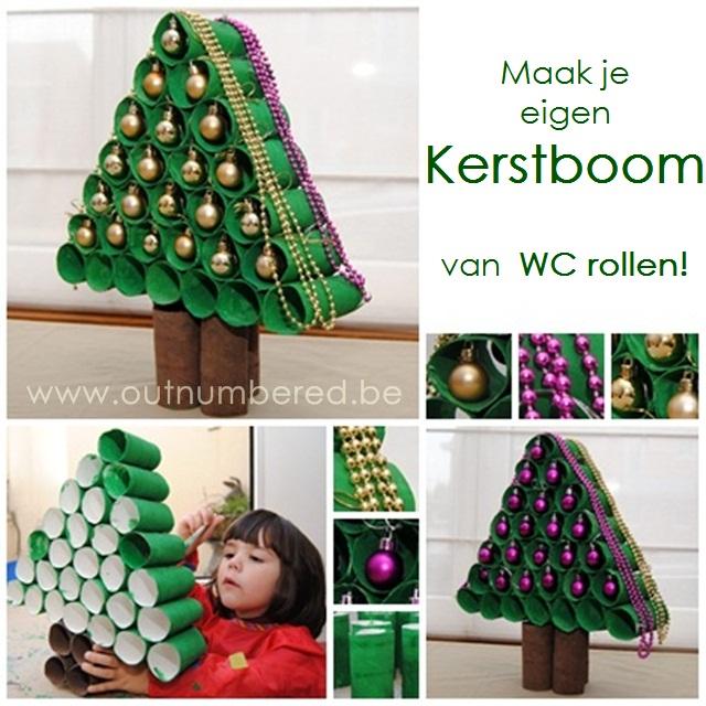 kerst knutselen met kinderen - zelf een kerstboom maken van WC rollen