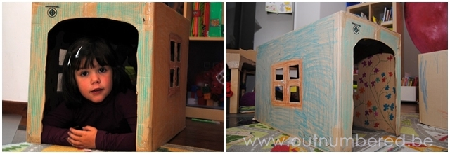 Kids crafts - House made from a cardboard box