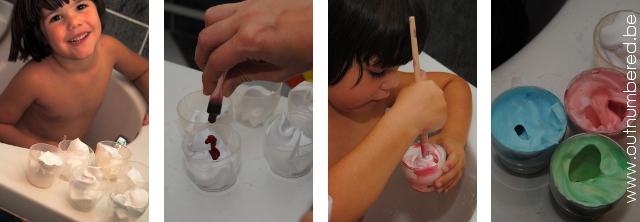 creatief in bad met kleuters - gekleurd scheerschuim maken om te verven