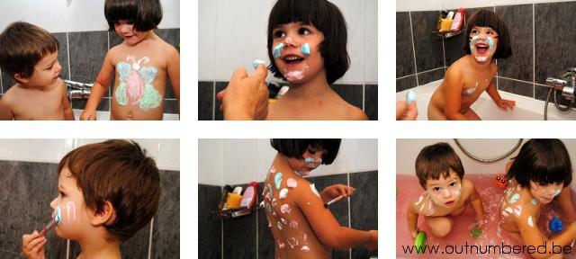 creatief in bad met kleuters - verven in het bad