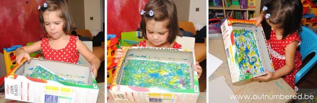 schilderen met knikkers in verschillende kleuren