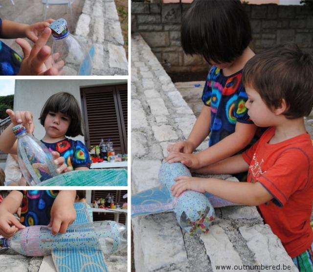 kinderen versieren vlietguig met washi plakband