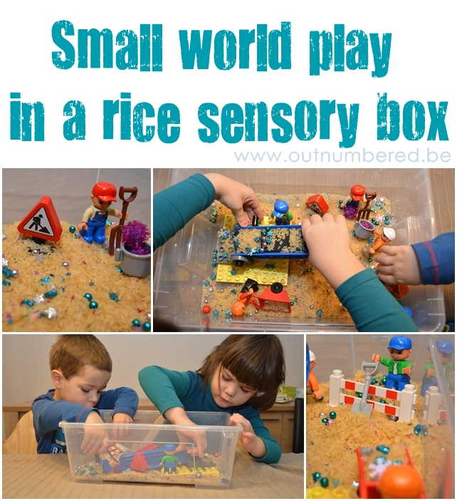 kids sensory activity rice small world play in a box