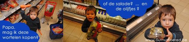 jongen koopt groenten in de supermarkt